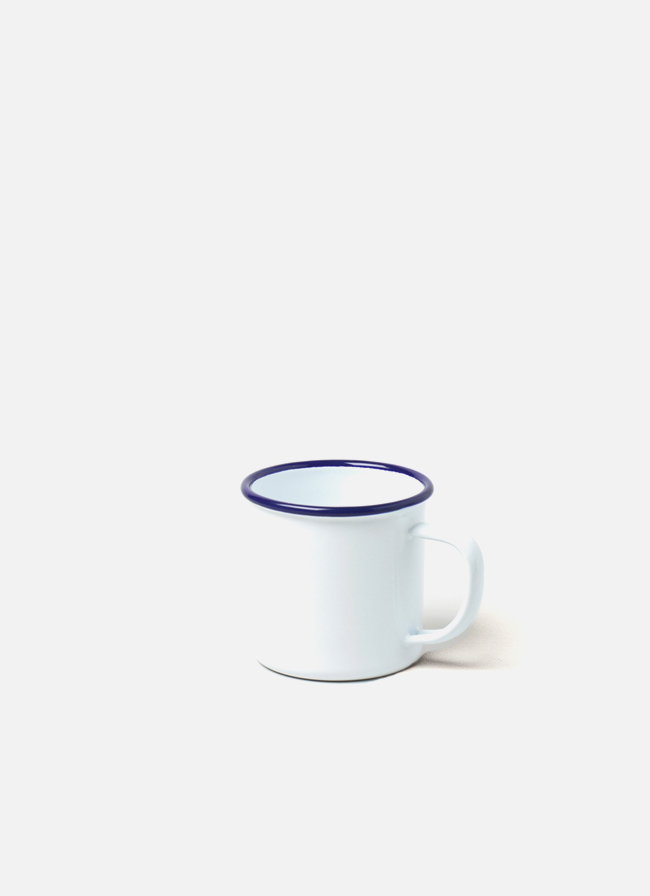 Falcon Enamelware Mug White With Blue Rim