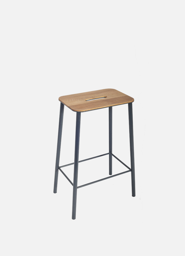 Adam Stool – H650 Grey – Oak Seat