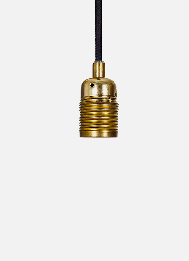 Frama - E27 Pendant – black cord and brass