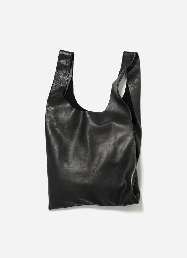 Leather Baggu Bag – Black