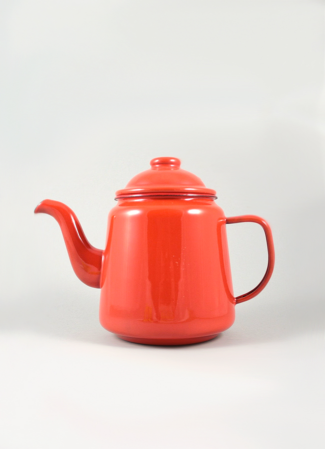 Falcon Enamelware Tea Pot Pillarbox Red