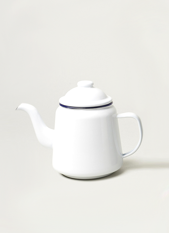 Falcon Enamelware Tea Pot White with Blue rim