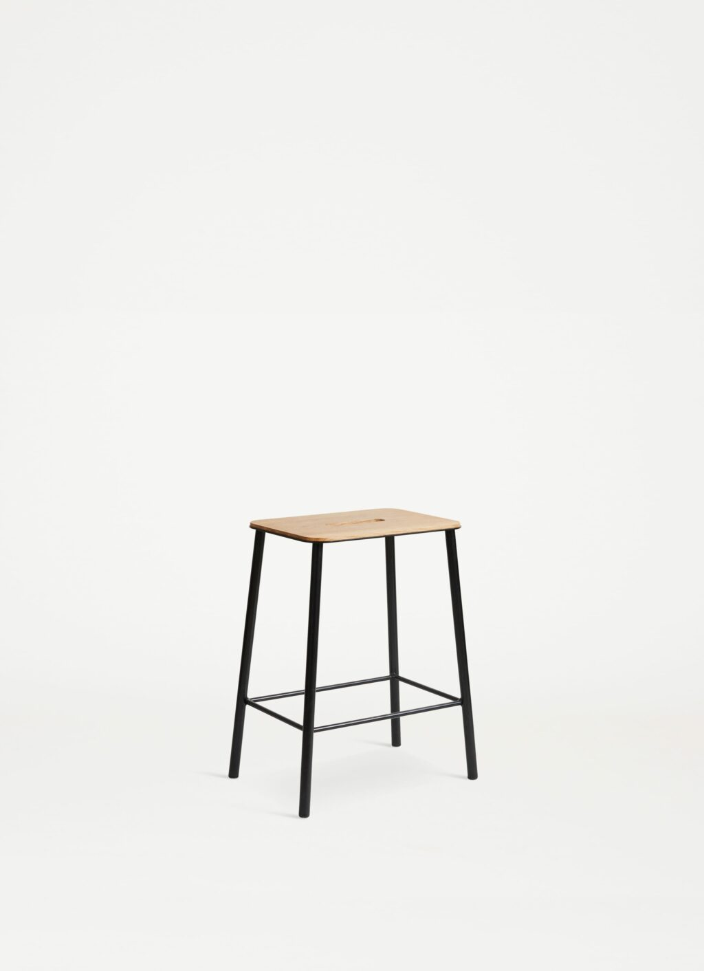 Adam Stool – H500 Black - Natural Leather Seat