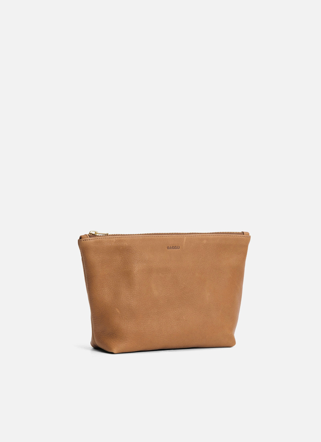Leather Medium Stash Clutch – Saddle