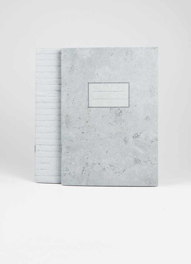 Studio of Basic Design – Set of 2 x A5 Notebooks – Grey Marble + White Brick
