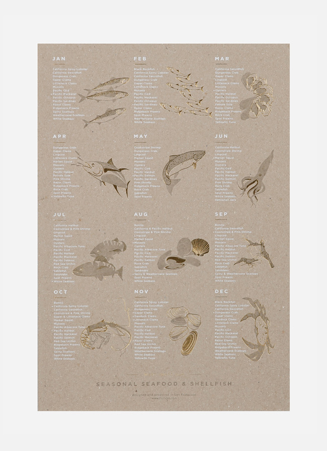 Young America Creative - Seasonal Seafood Poster - Gold Foil - Carboard Print