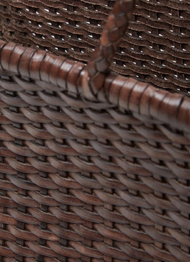 volta_Dragon Diffusion - Small Tote - Leather Wicker Bag - dark browndragon_diffusion_shopper_max_bag_dark_brown2