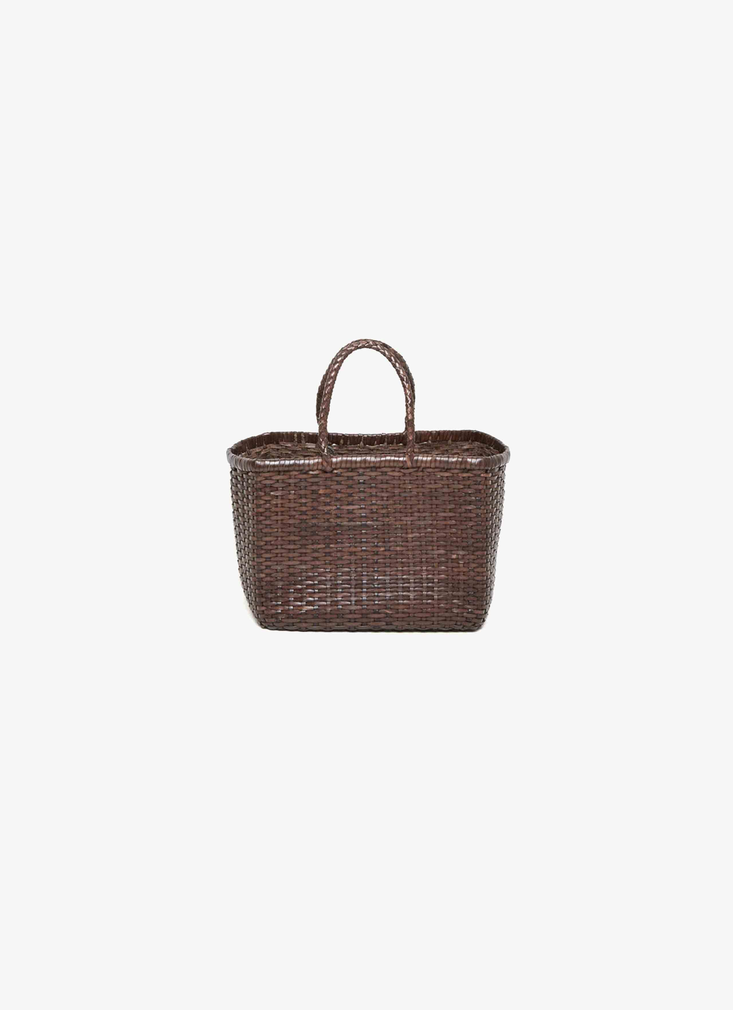 Dragon Diffusion - Small Tote - Leather Wicker Bag - dark brown