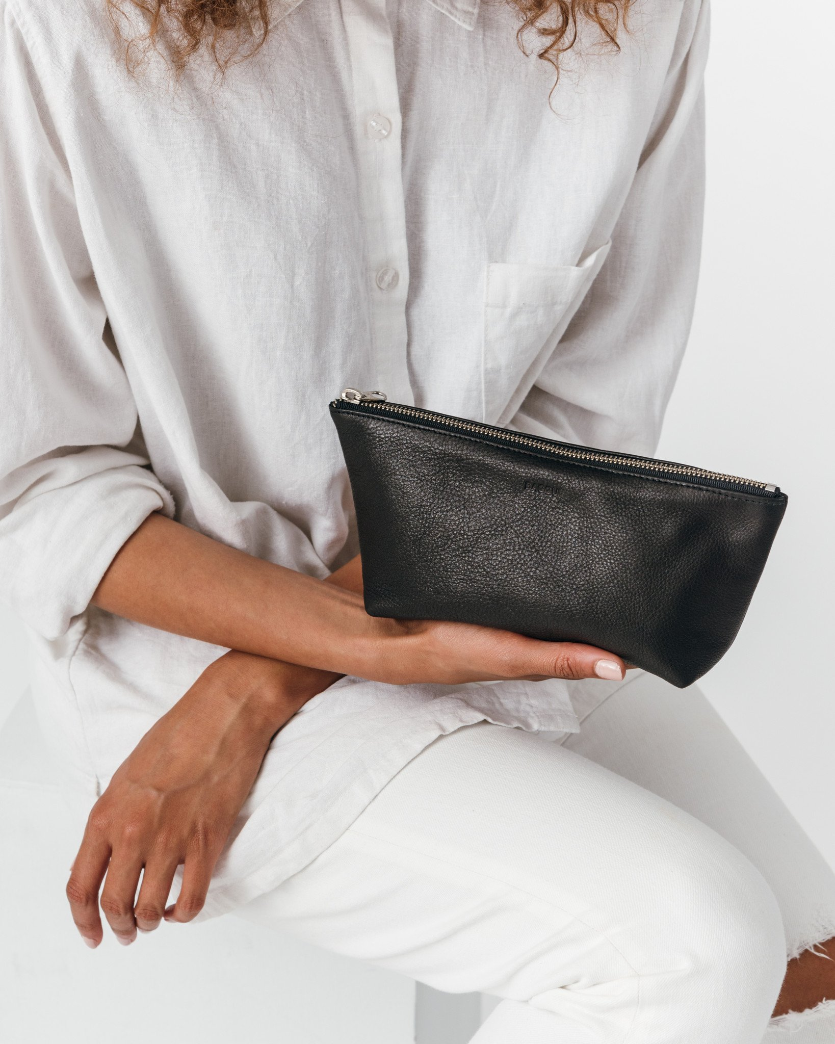 Baggu Leather Cosmetic Pouch - Black
