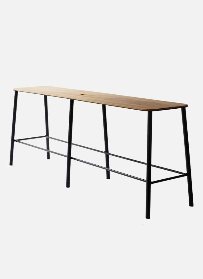 Adam Bench – L120 matt black - Oak Seat
