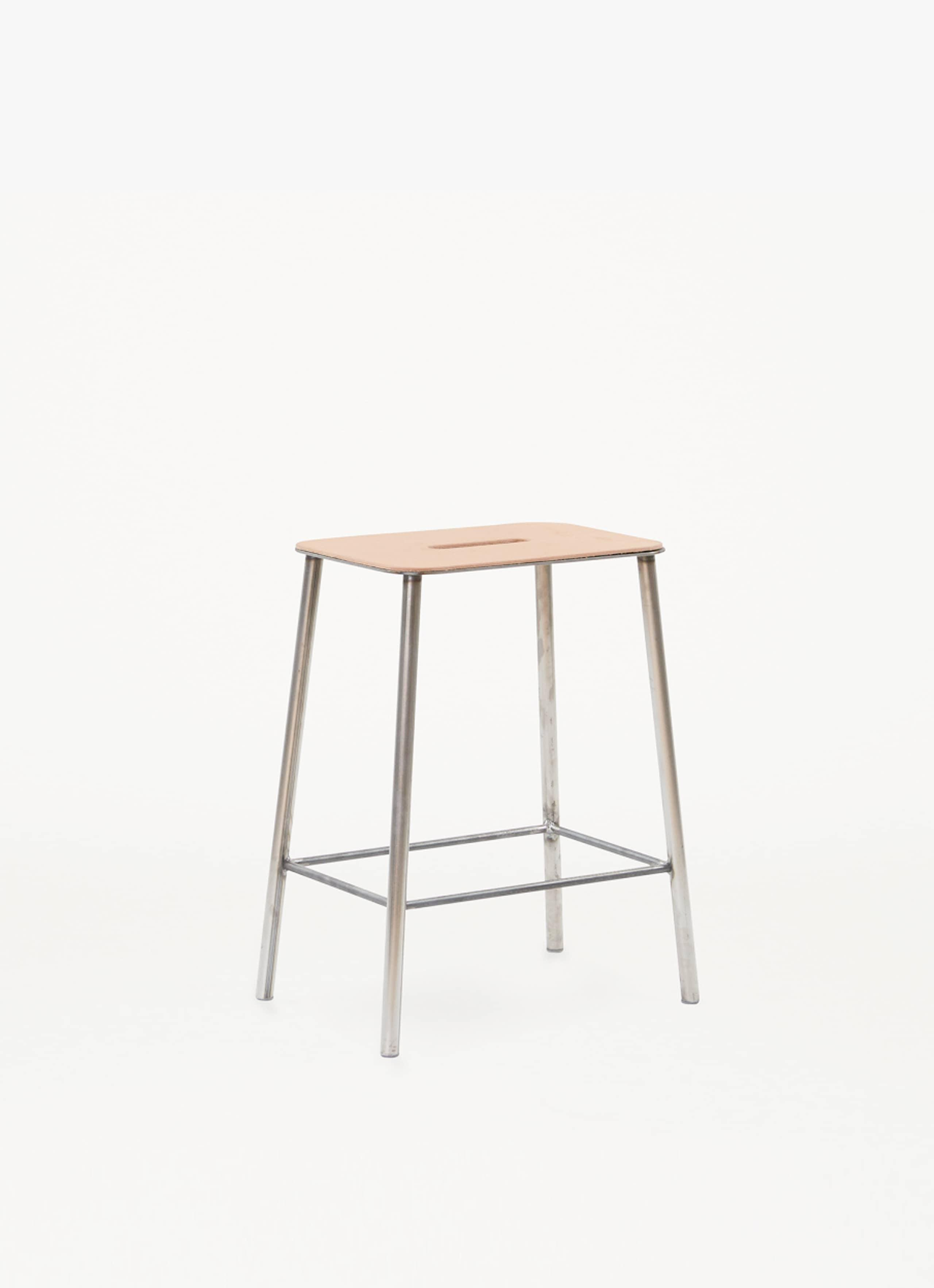 Adam Stool - H500 Raw Steel - Natural Leather Seat