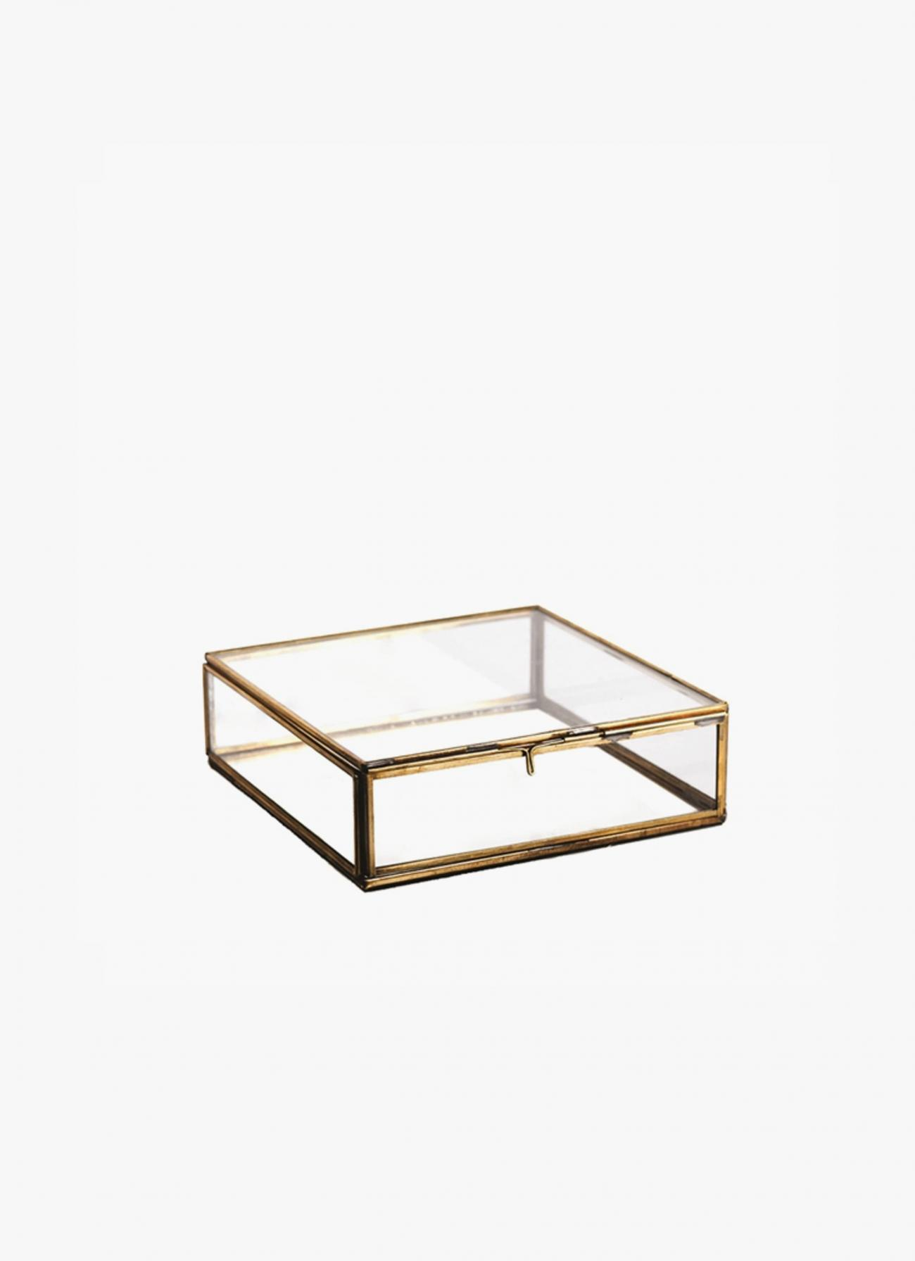 Nkuku - Brass and Glass Storage Box - large