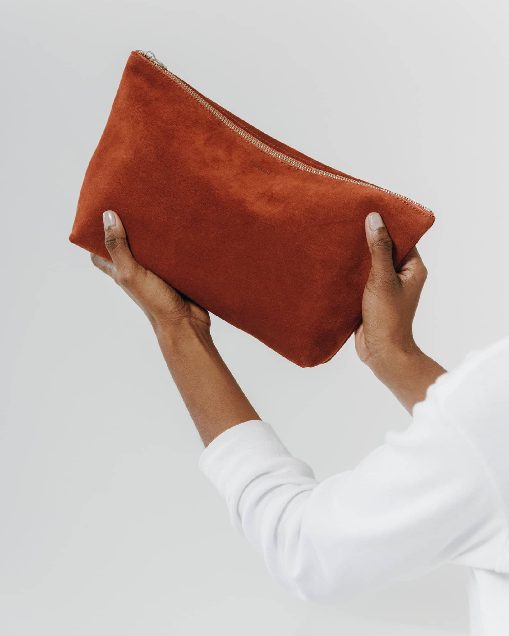 Baggu Leather Pouch - Rust Suede - Large