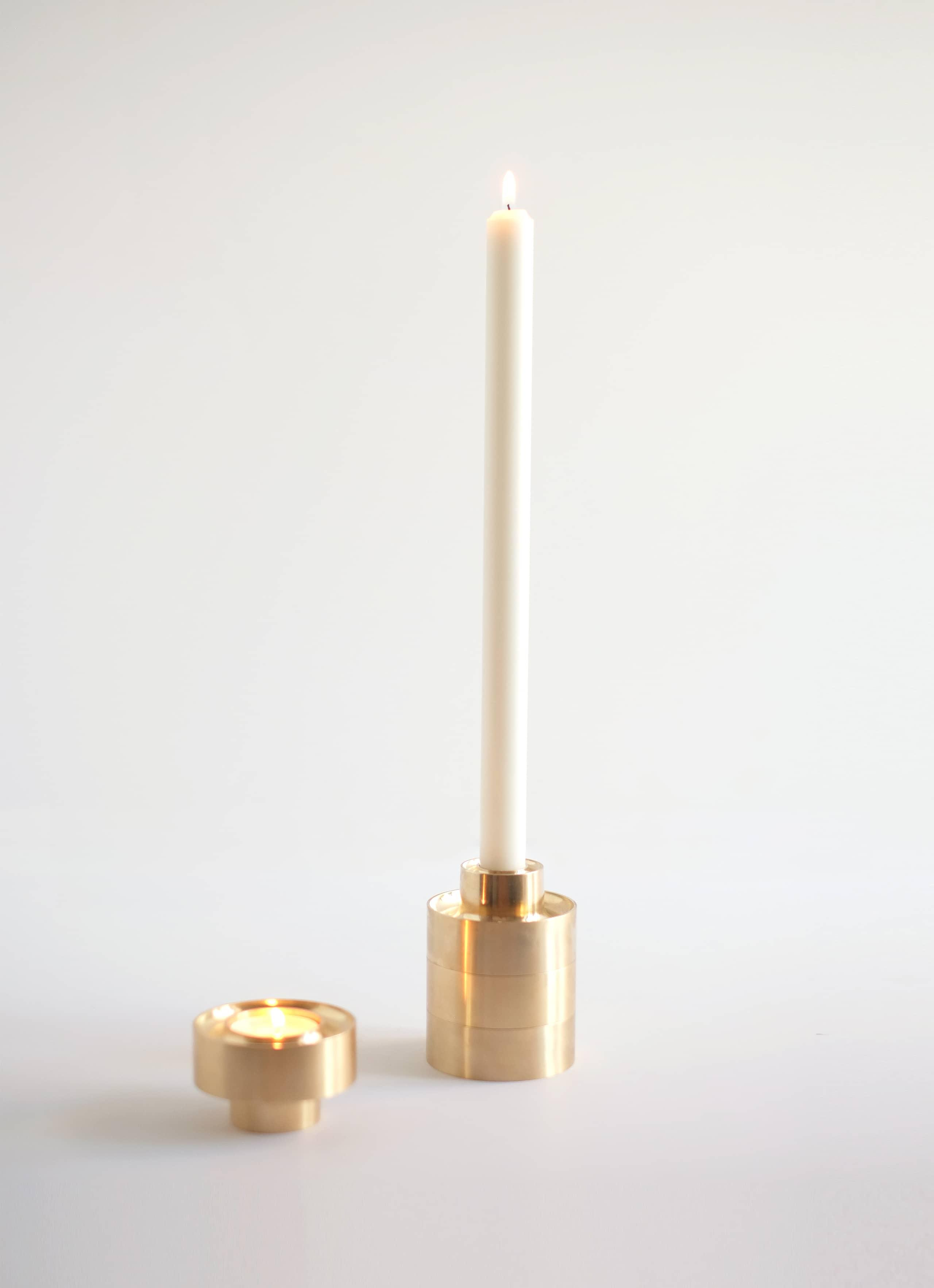 Fort Standard - Stacking Candle Holder - set of two - brass