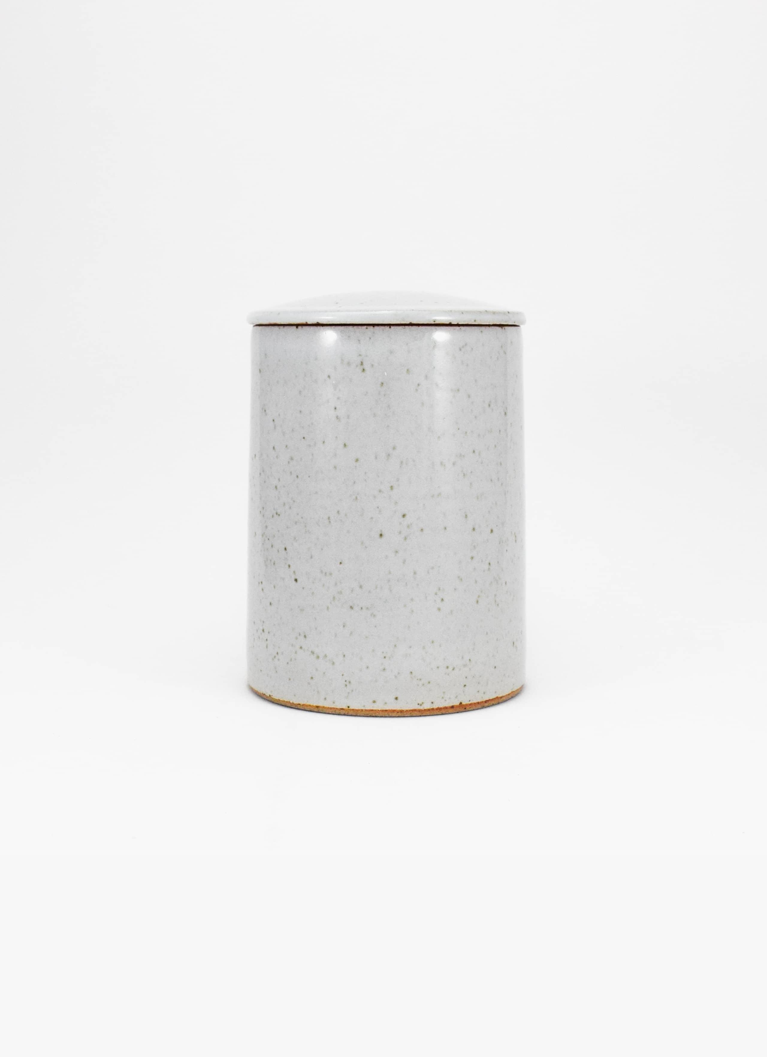 James and Tilla Waters - Thrown Stoneware - Lidded Jar - White glaze