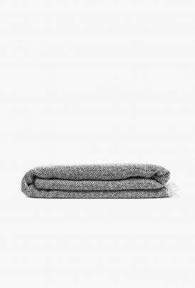 By Mölle - Merino Wool Wrap - Graphite - off white - 140 x 180cm