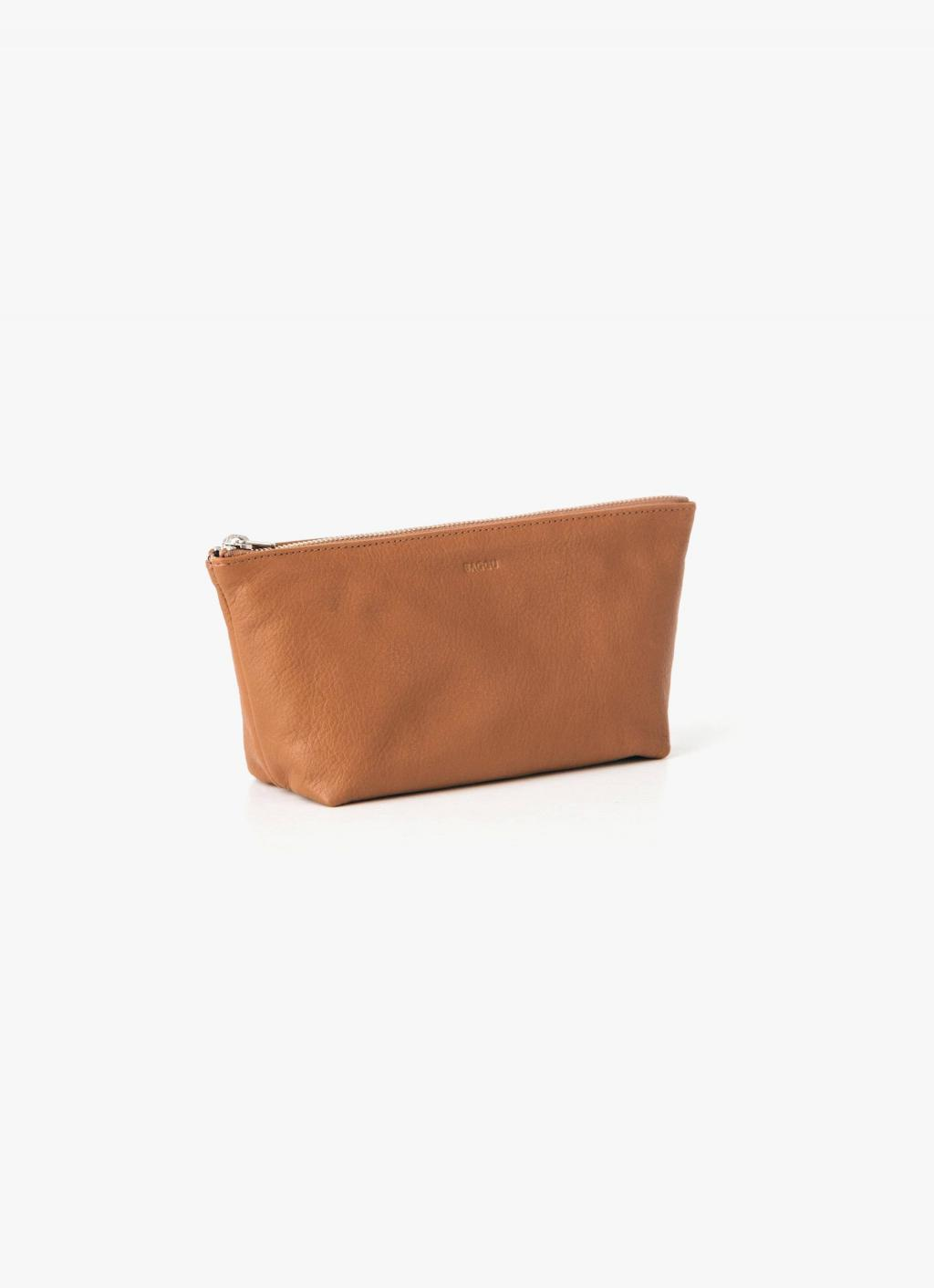 Baggu Leather Cosmetic Pouch - Saddle