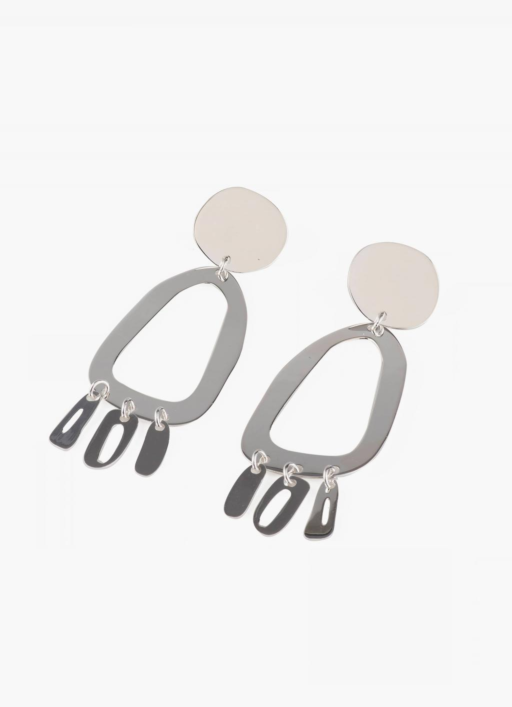 Modern Weaving - Odd Oval Fringe Earrings - Sterling Silver