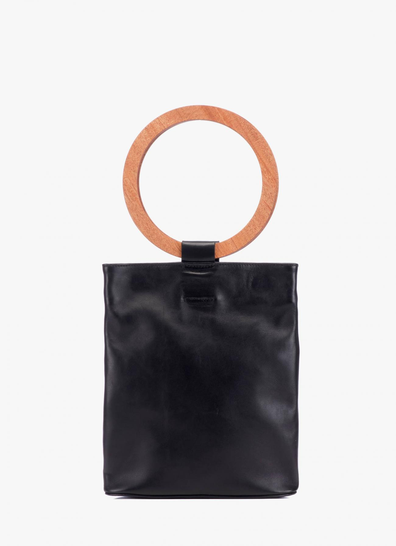 Modern Weaving - Wood Handle Circle Clutch - Black with Mahogany Handles