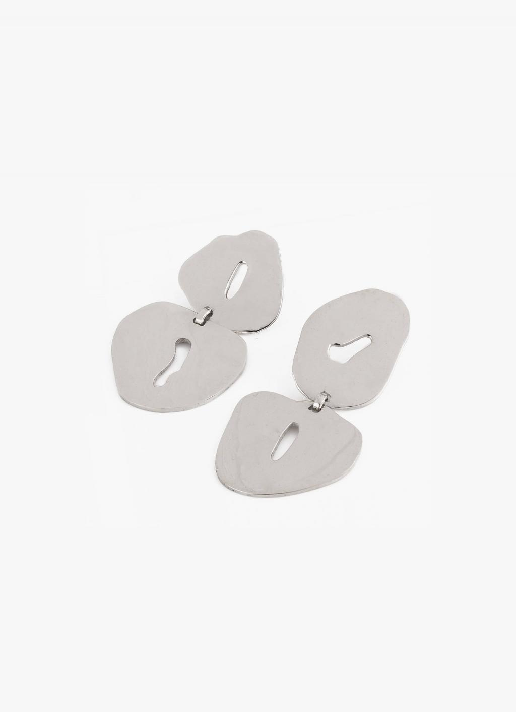 Modern Weaving - Floating Oval Studs - Sterling Silver