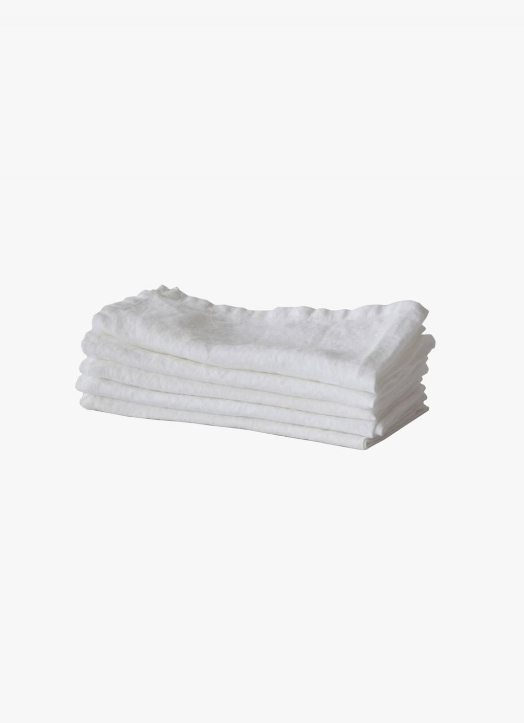 Tell Me More - Linen Napkin - Bleached White
