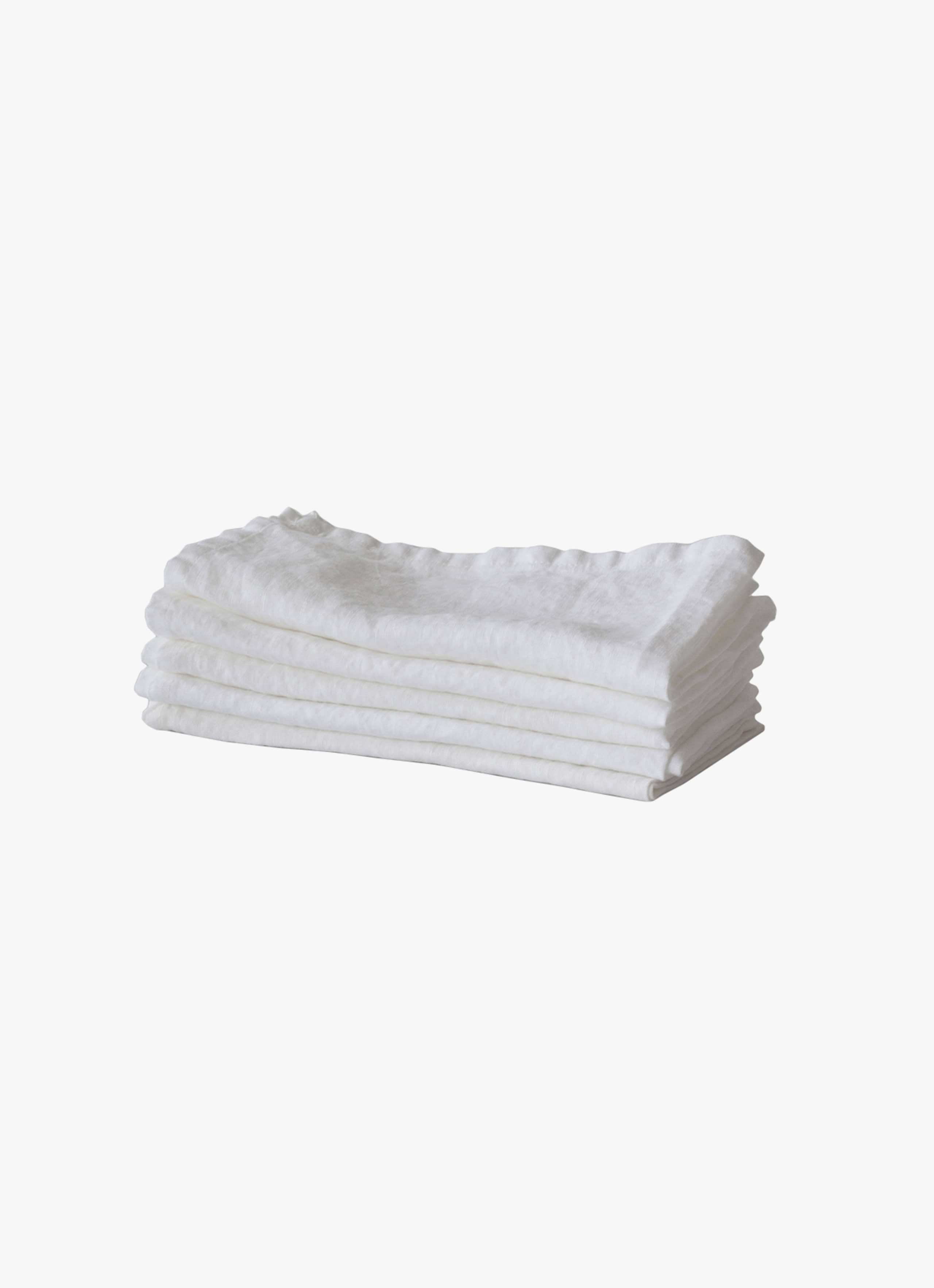 Tell Me More - Linen Napkin - Bleached White