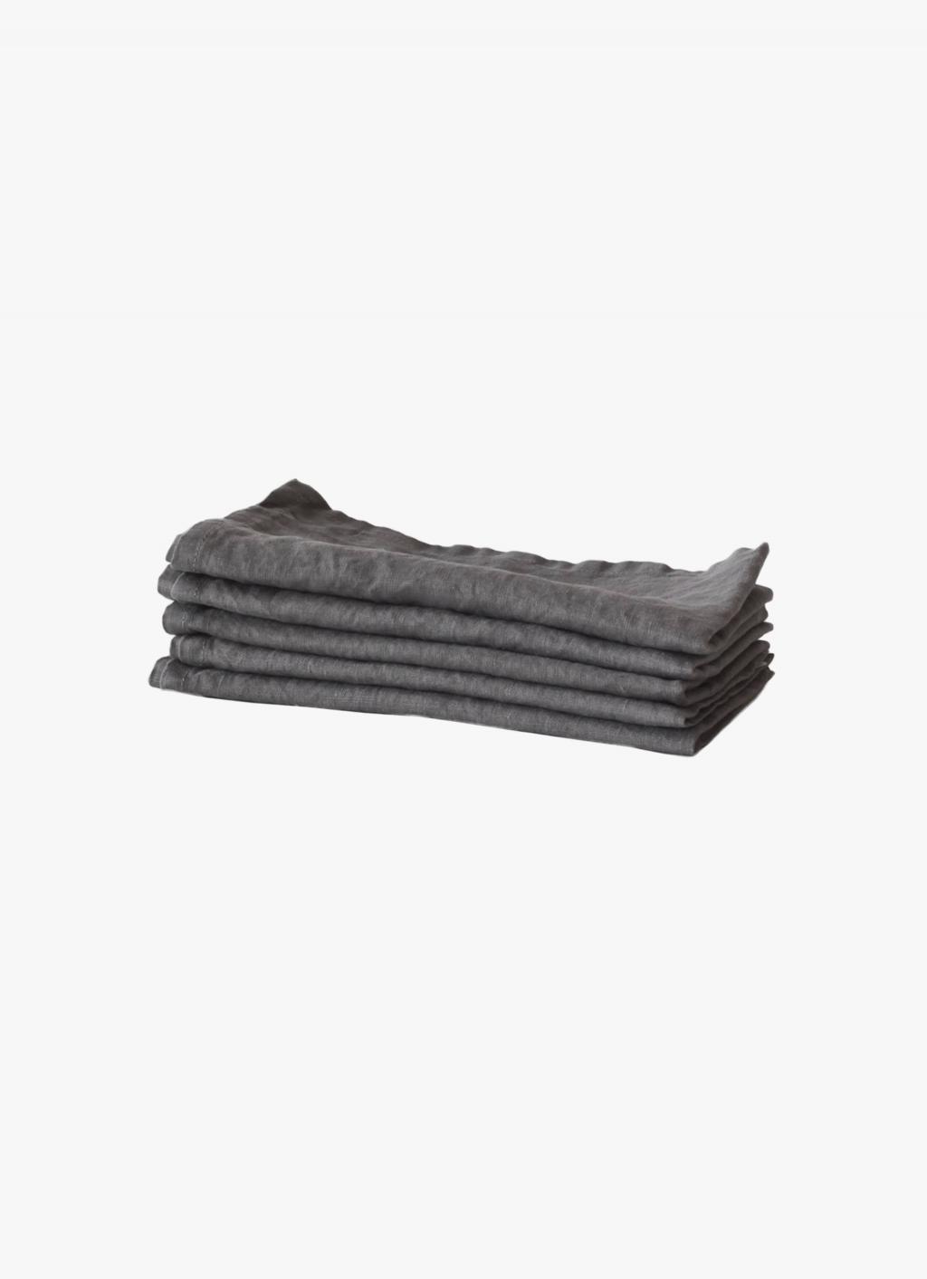 Tell Me More - Linen Napkin - Dark Grey