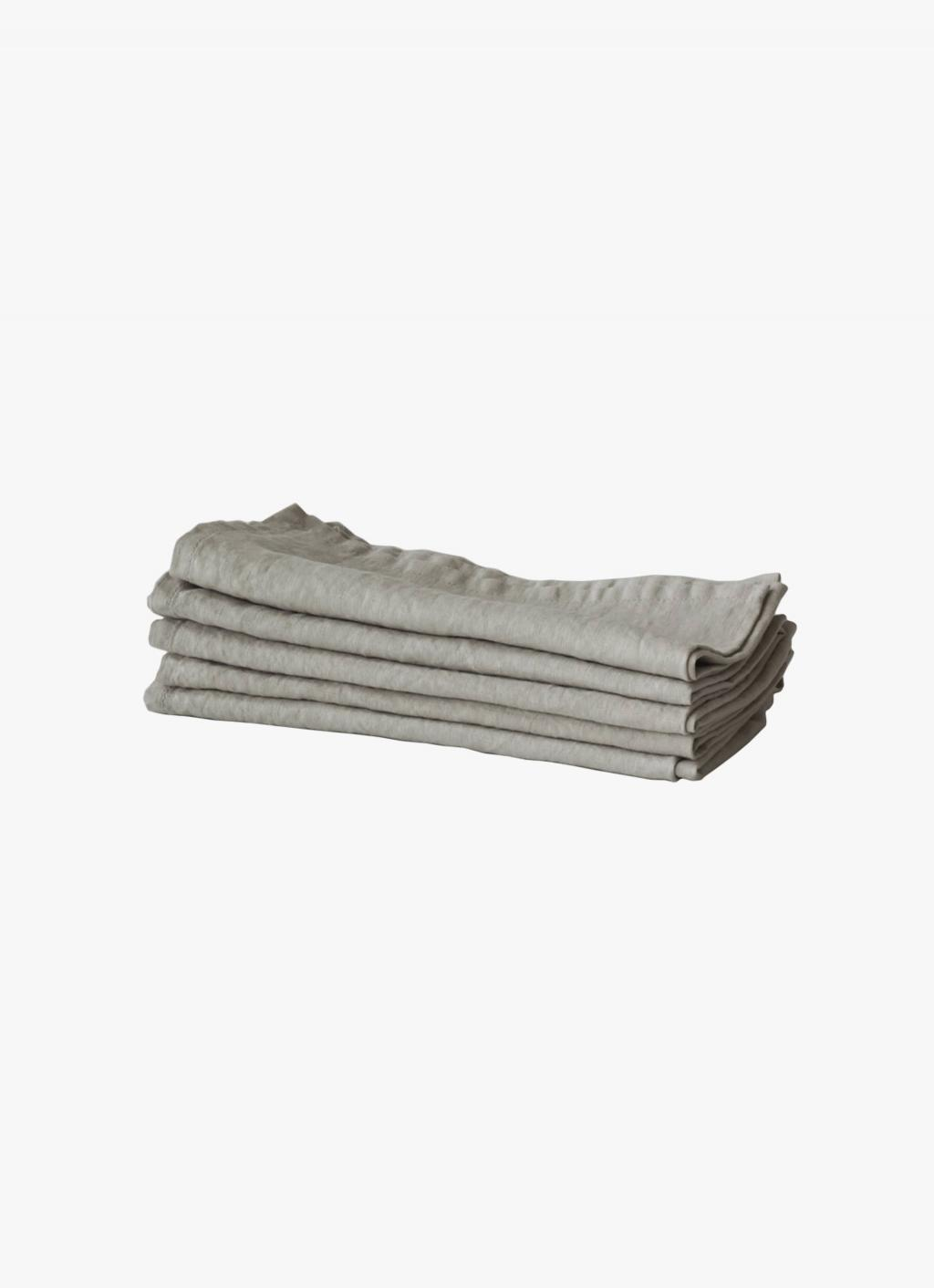 Tell Me More - Linen Napkin - Warm Grey