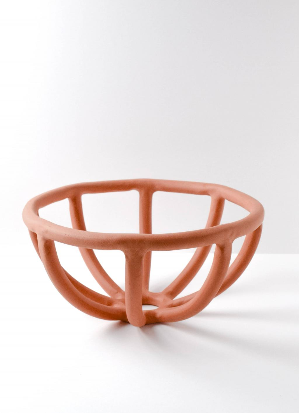 Sin - Prong Fruit Bowl - Handmade Stoneware - Terracotta