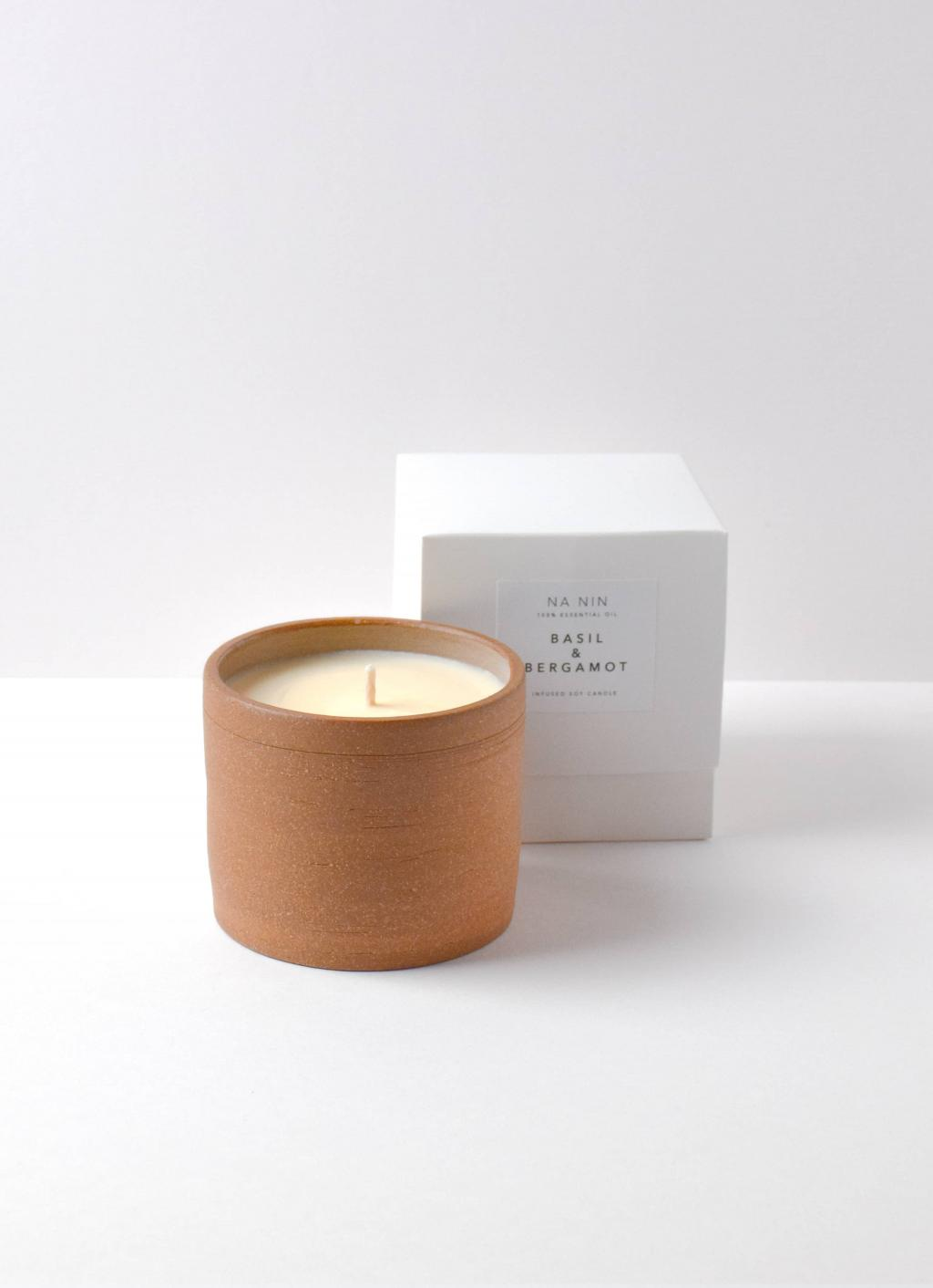 Na Nin - Terracotta Soy Wax Candle - Basil and Bergamot
