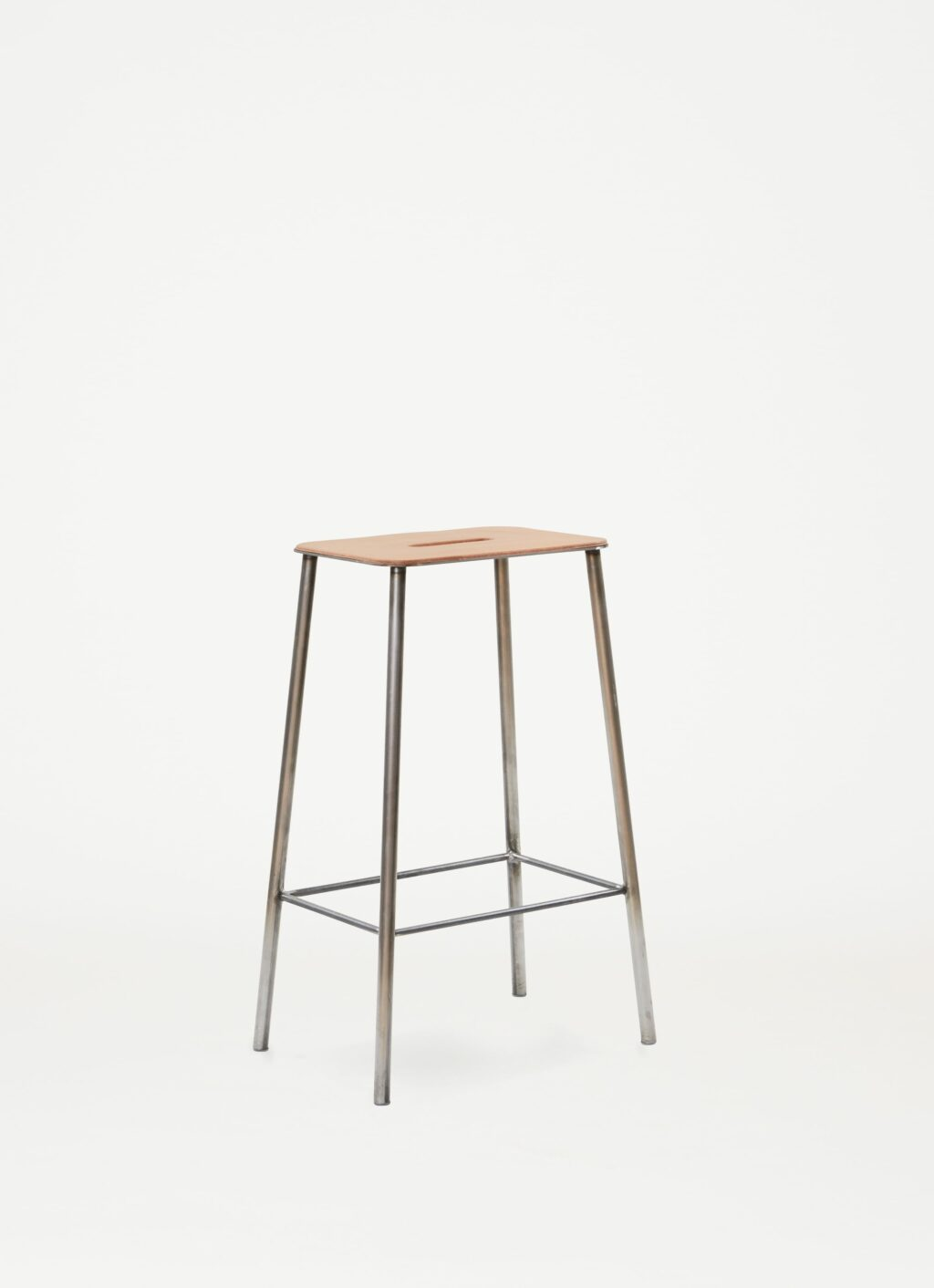 Adam Stool – H650 Raw Steel - Natural Leather Seat