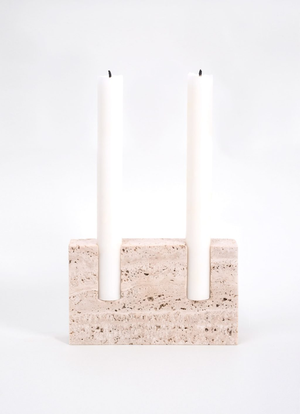 Sanna Voelker - Snug - Candle Holder - Bone White Travertine