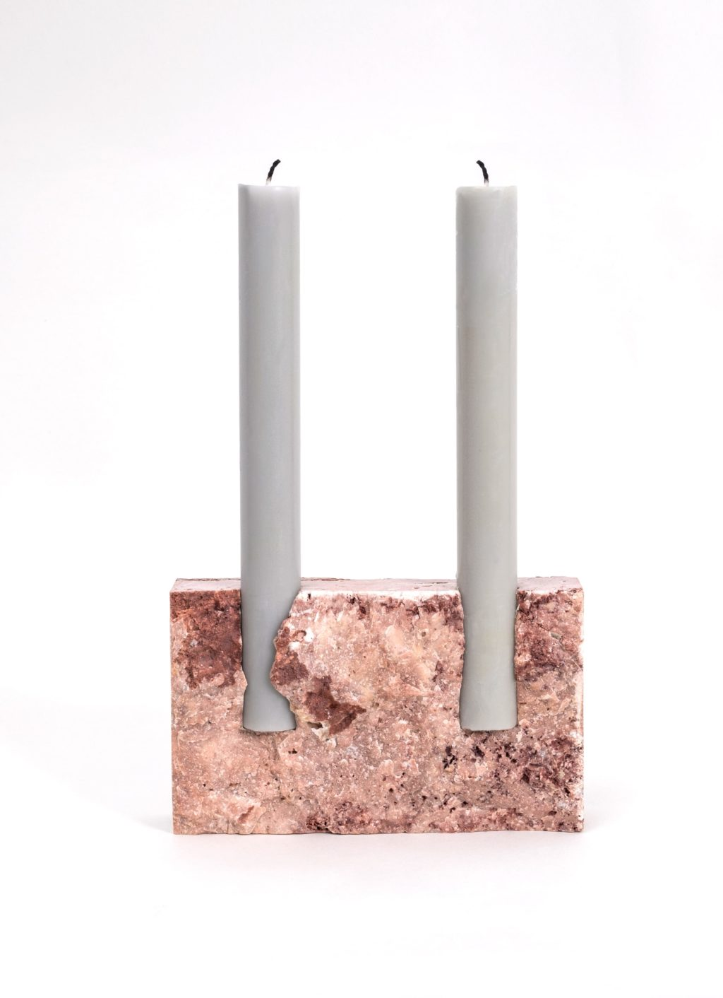 Sanna Voelker - Snug - Candle Holder - Red Travertine