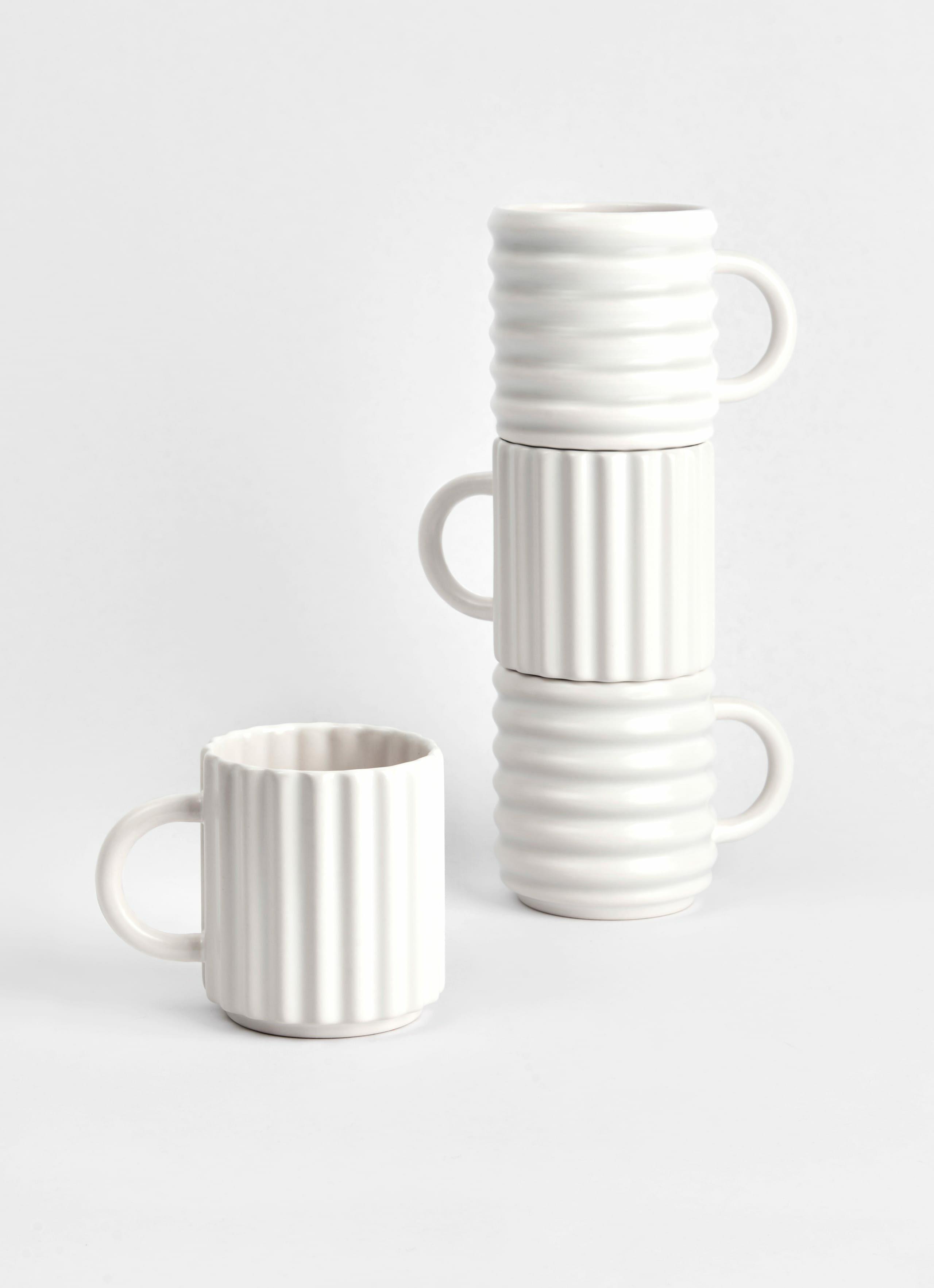 Form and Seek - 3D printed - Porcelain -Ripple Mugs - Set of 2