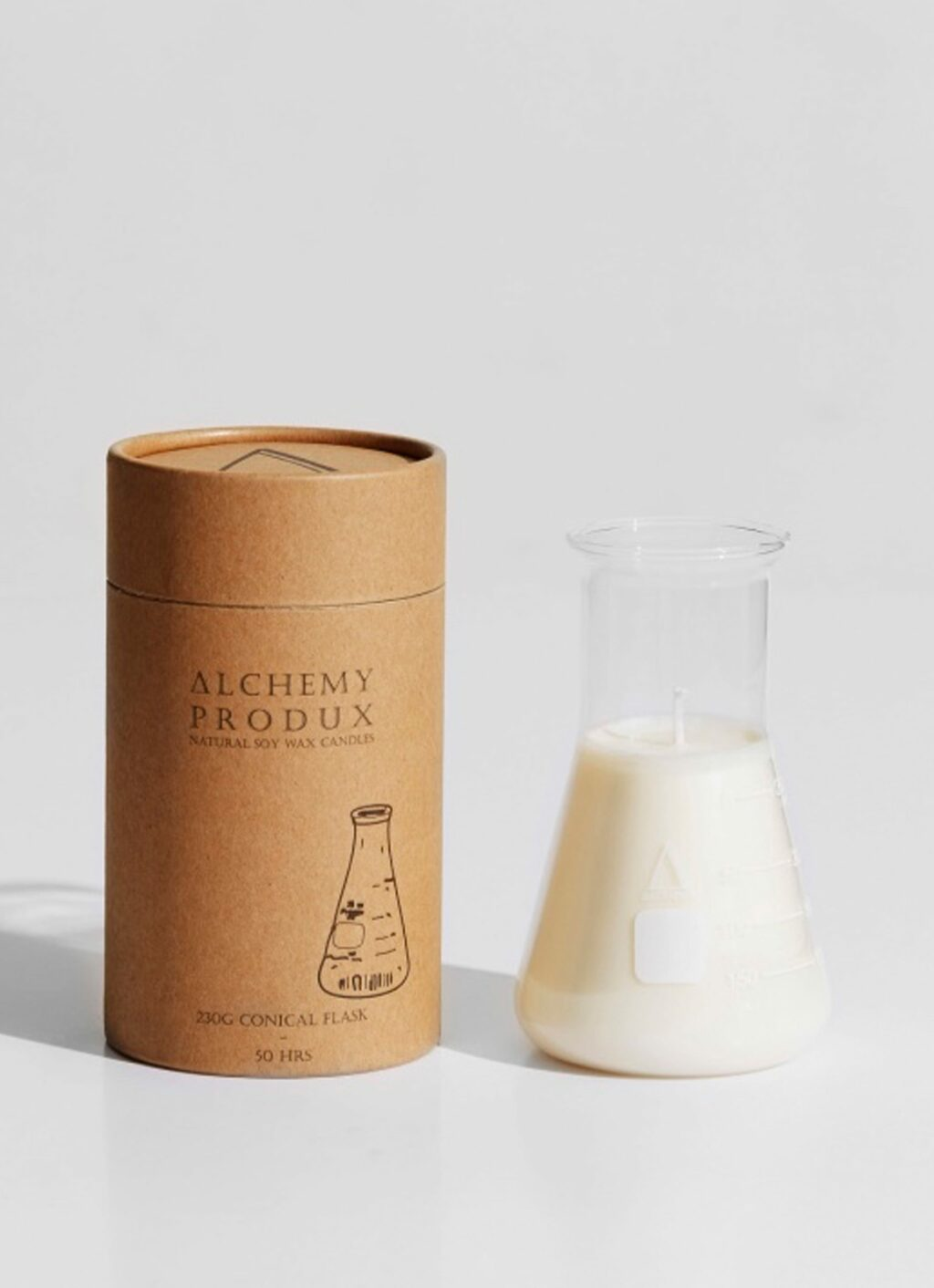 Alchemy Produx - Natural Soy Wax - Conical Flask Candle - Tobacco and Fir