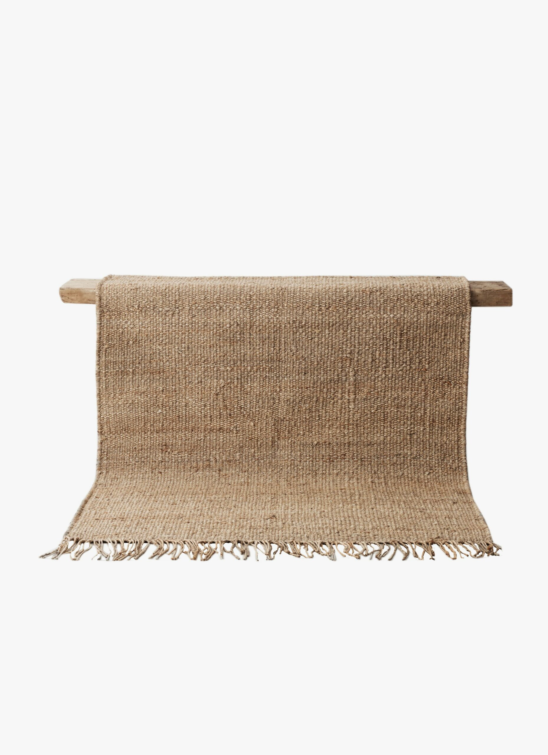 Tell Me More - Hemp Rug with fringes - natural - 140 x 200 cm
