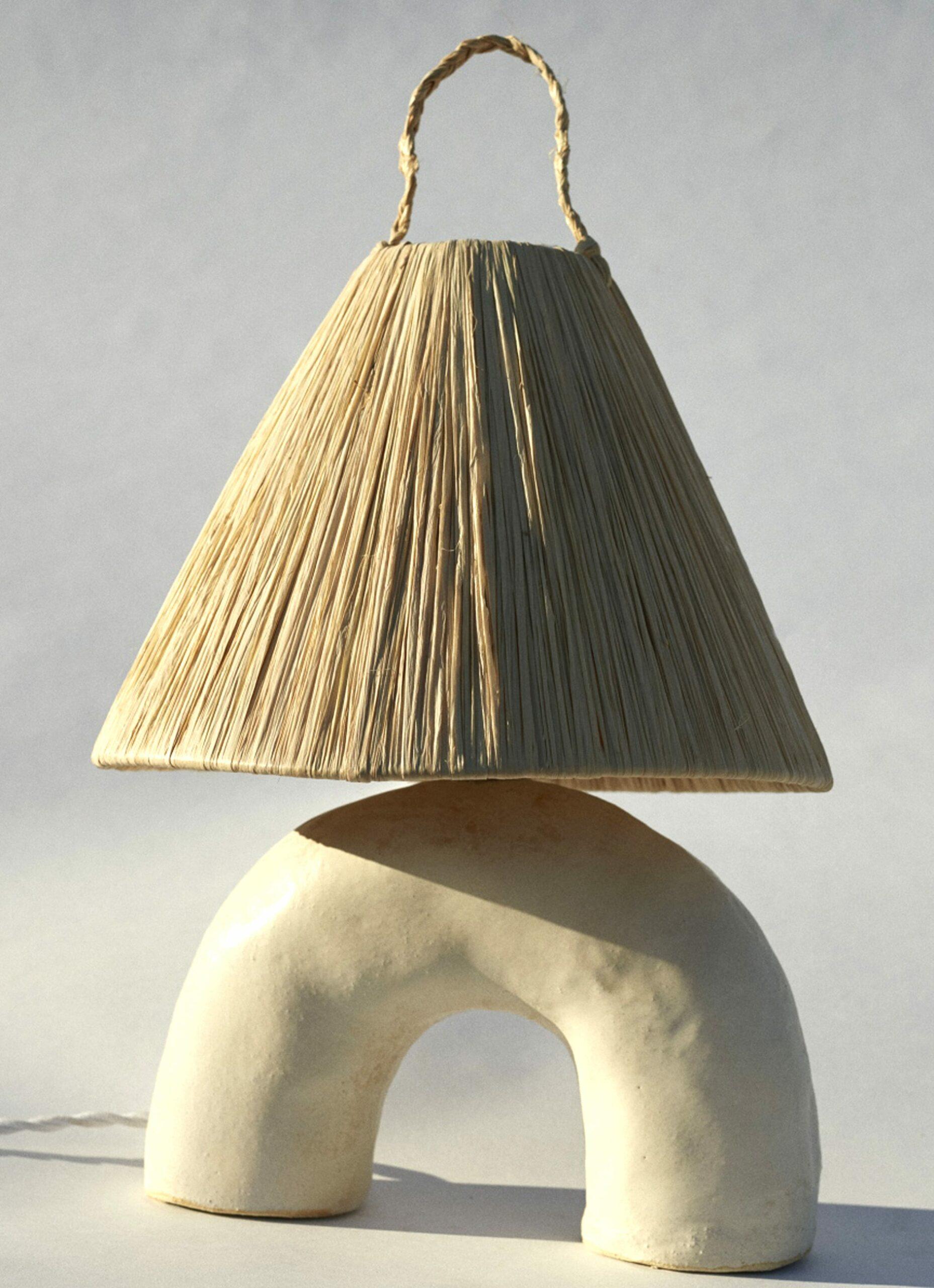 Marta Bonilla Handmade Stoneware Volta Lamp White Volta