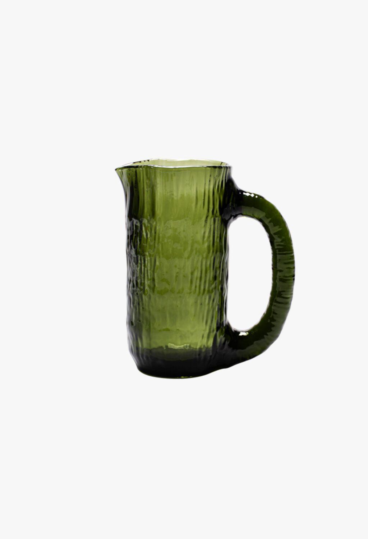 Nedre Foss - Vannfall - Water jug in mouth- blown glass - Bottle Green