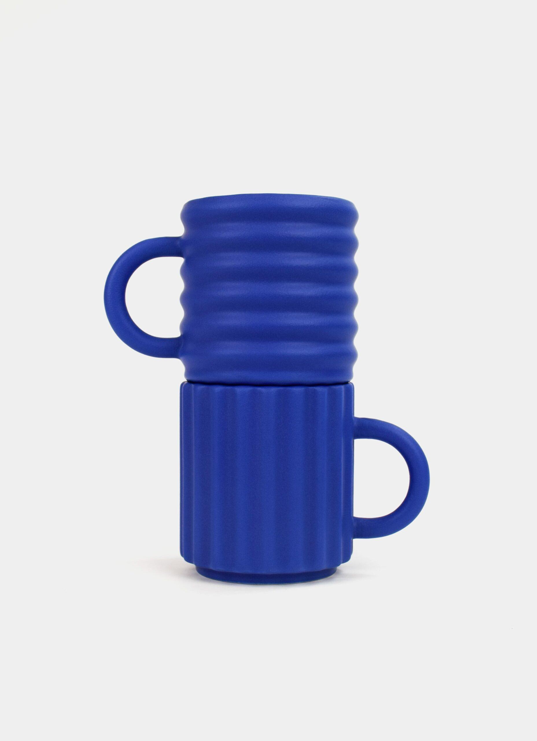 Form and Seek - Ripple Mugs - Set of Two - Cobalt