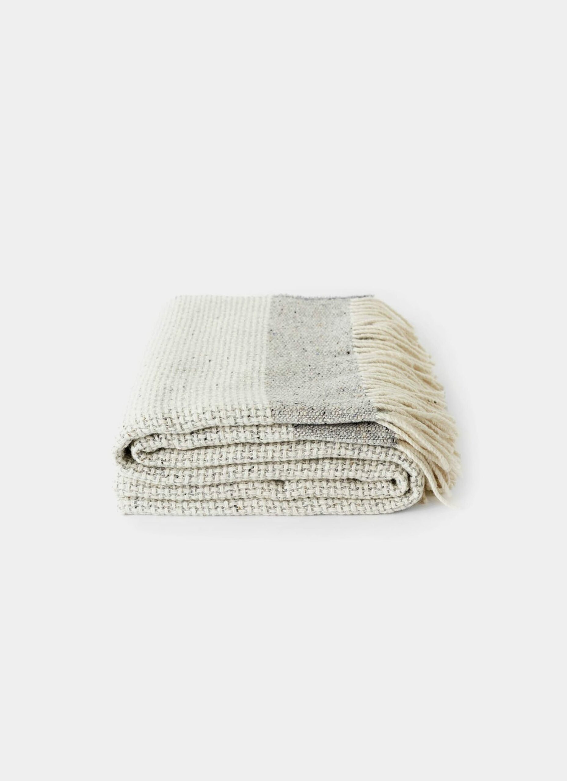 Mourne Textiles - Mended Tweed - Merino Blanket - Silver Grey with band