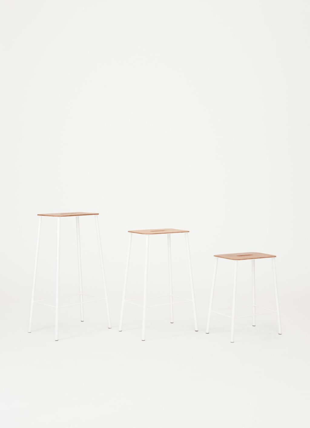 Adam Stool – White - available in 3 sizes - Oak or Natural Leather seat