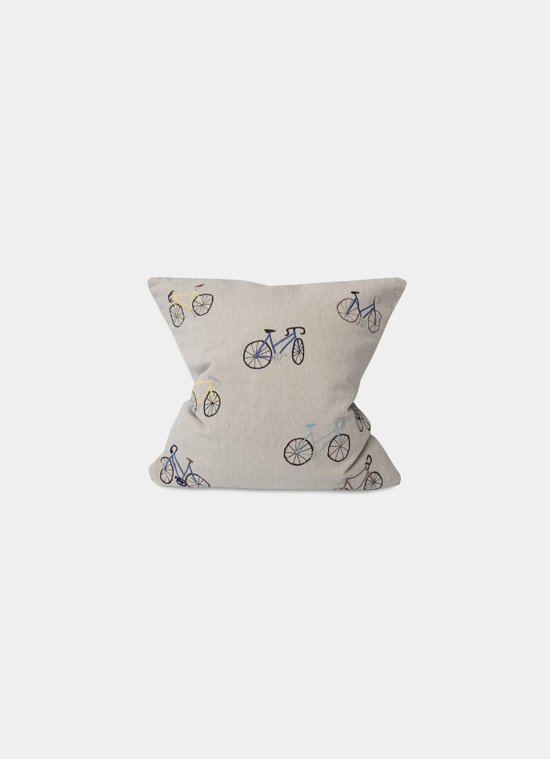 Fine Little Day - Bicycles - Embroidered Cushion - Linen and Cotton