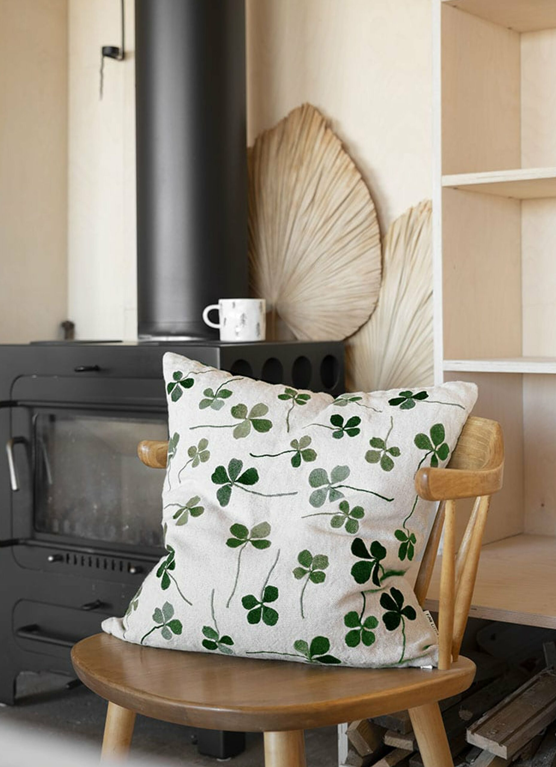 Fine Little Day - Clover - Embroidered Cushion - Linen and Cotton
