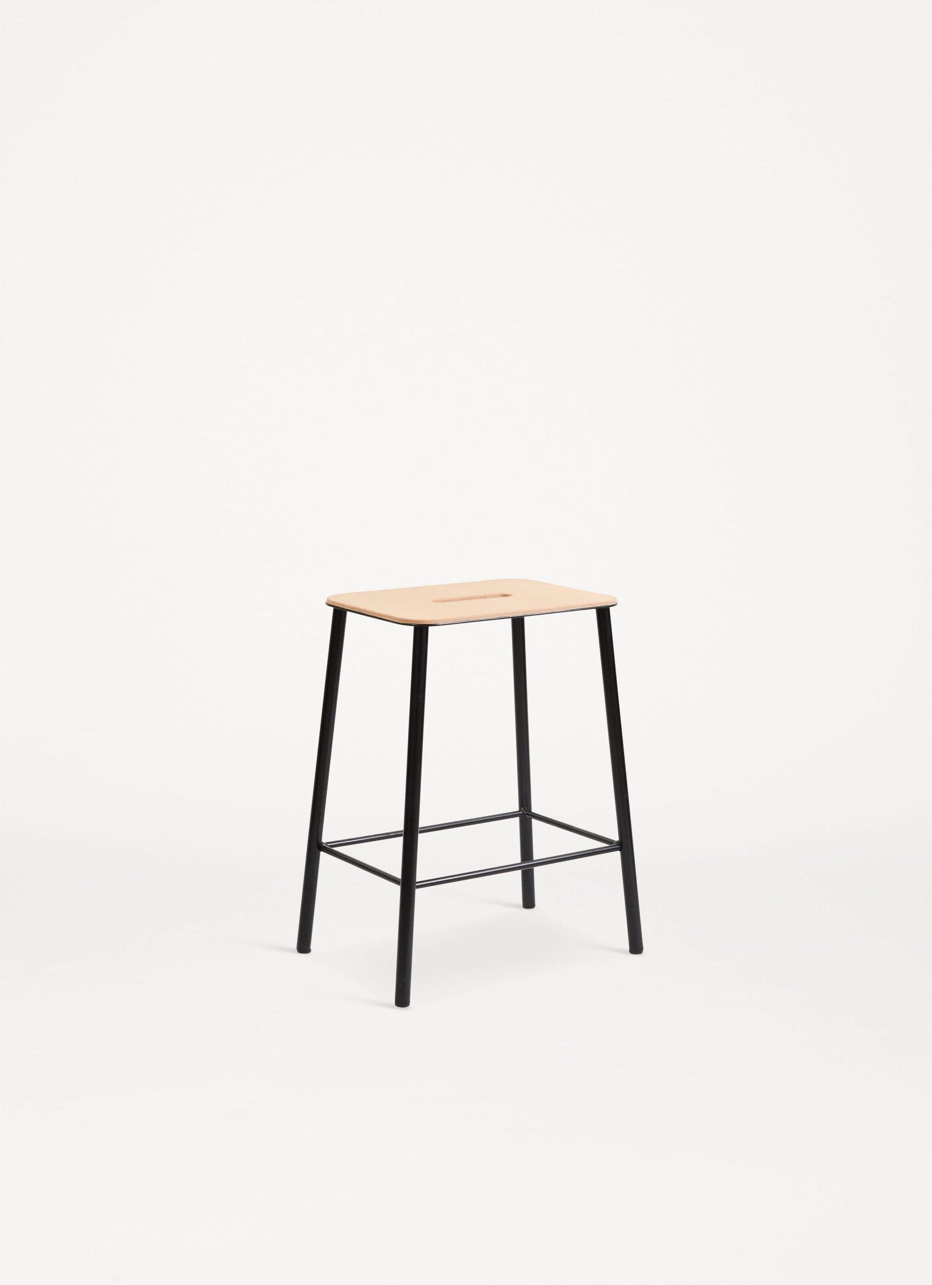 Adam Stool – Black - Natural Leather Seat - available in 3 sizes