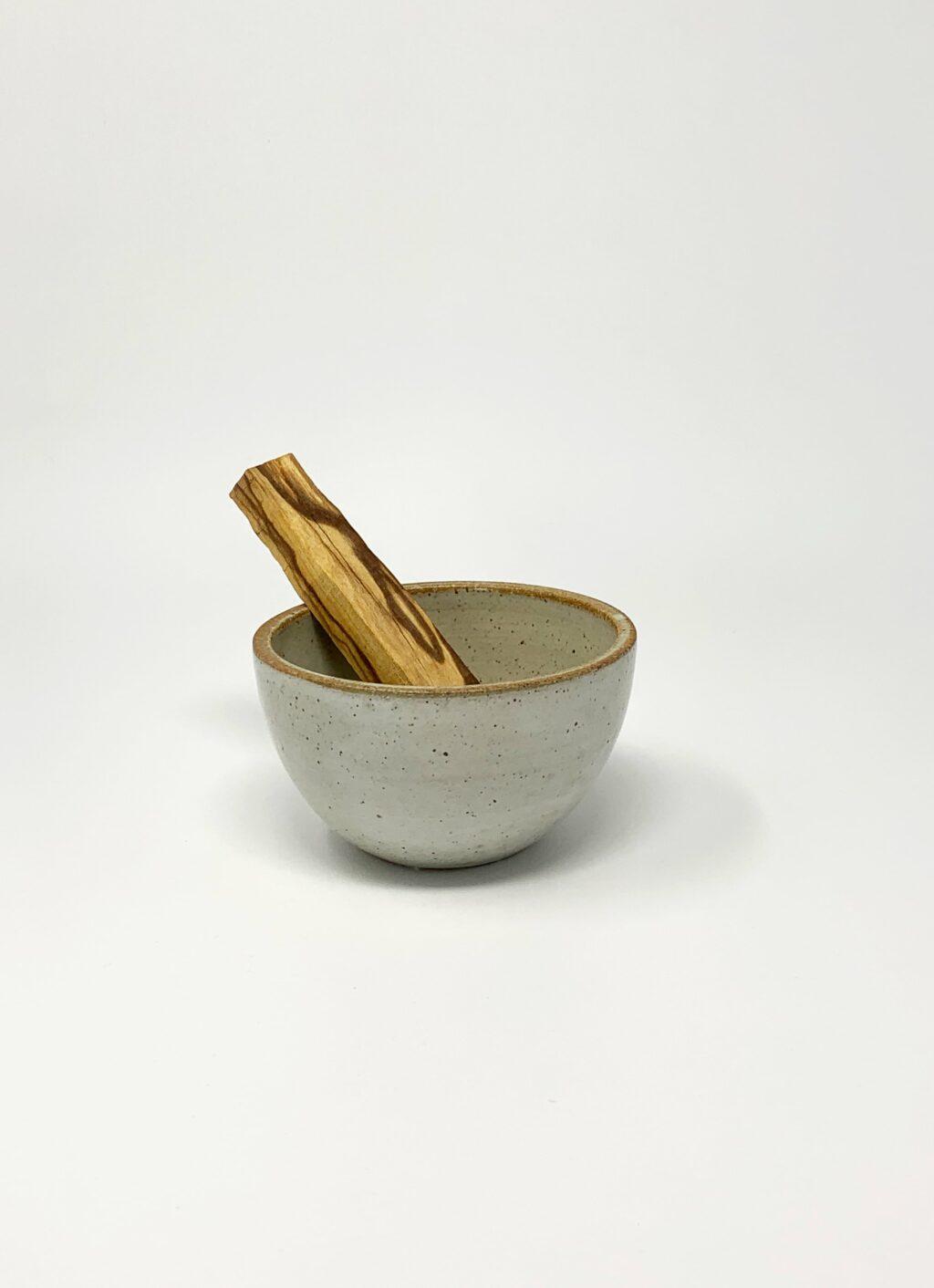 Incausa - Wood Fired Stoneware Smudge Bowl - White - Large