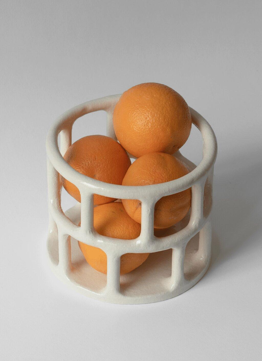 Solenne Belloir- Cylindrical Basket - Glazed Stoneware - White