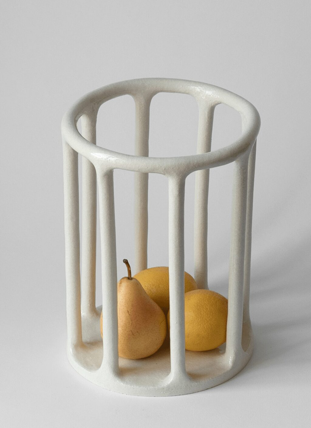 Solenne Belloir- Minimalist Cylindrical Basket - Glazed Stoneware - White