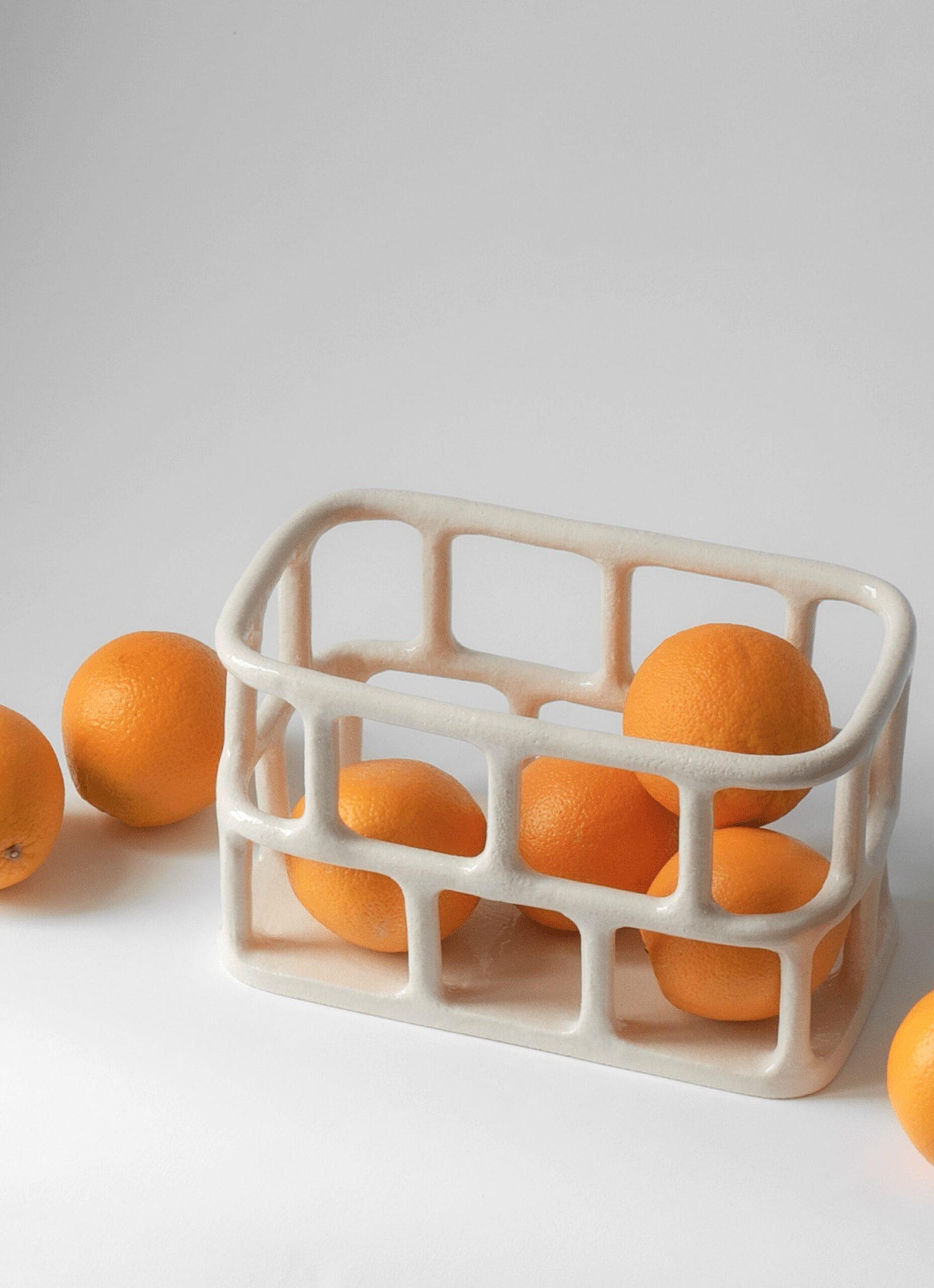 Solenne Belloir- Rectangle Basket - Glazed Stoneware - White