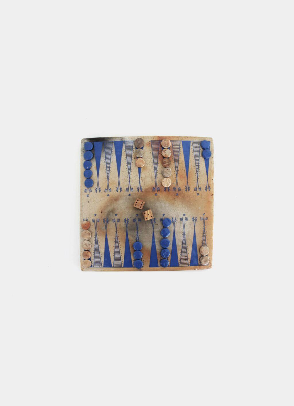 Flayou - Chich-Bich - Terracotta - Backgammon - Special Edition - Neon blue
