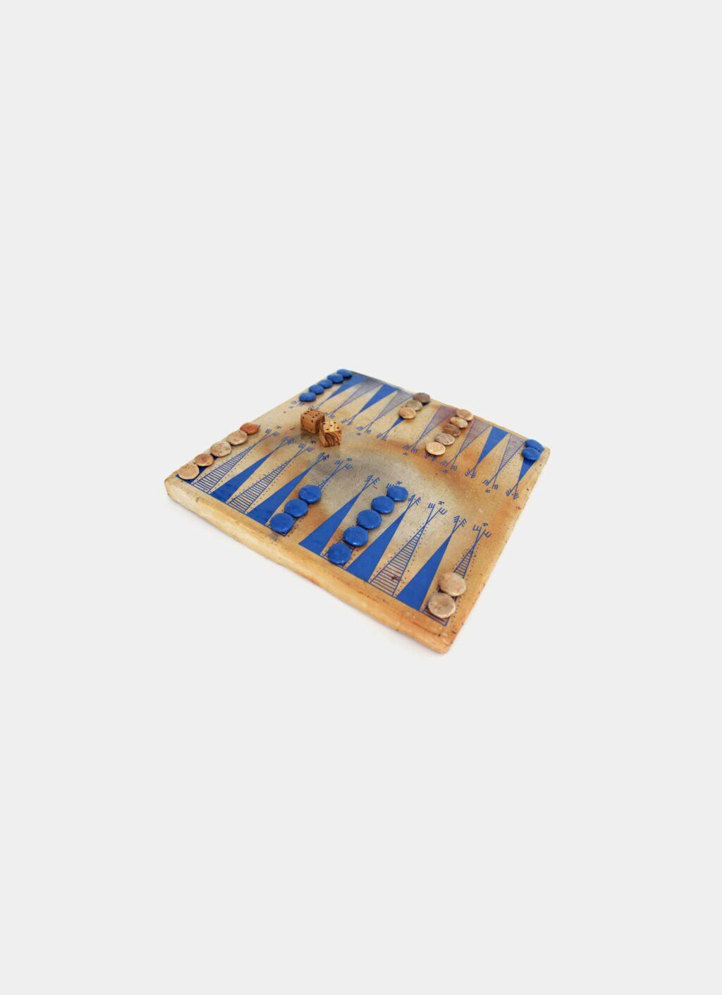 Flayou - Chich-Bich - Stoneware Backgammon - Special Edition - Neon blue